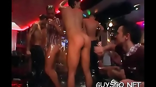 Bunch of fellows around hungry assholes having a blast at homosexual orgy
