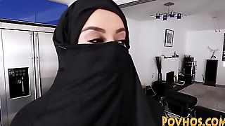 Muslim busty slut pov sucking together with riding cock in burka