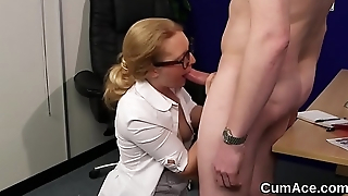 Foxy bombshell gets jizz shot on will not hear of face sucking all the load