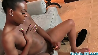 Jerking ebony tgirl masturbates in closeup