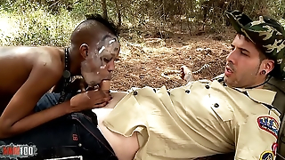 African Sex Safari with skinny ebony pet fucking white guy