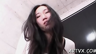 Cute asian babe mesmerizes in naughty 10-pounder sucking