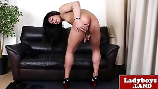 Solo ladyboy jerking off their way cock gently