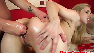 Lesbian babes love passionate fisting