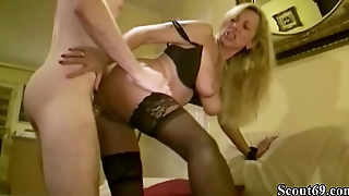 German MILF Teach Big Dick Virgin Son be expeditious for Friend how to Fuck